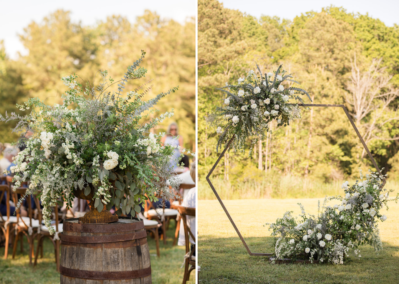 outdoor wedding ceremony. floral arch