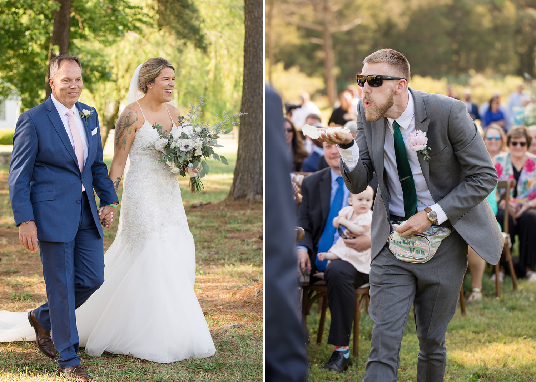 groomsmen as one of the flower girls blowing flowers before the bride walks down the aisle