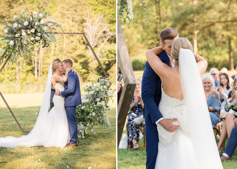 bride share their first kiss