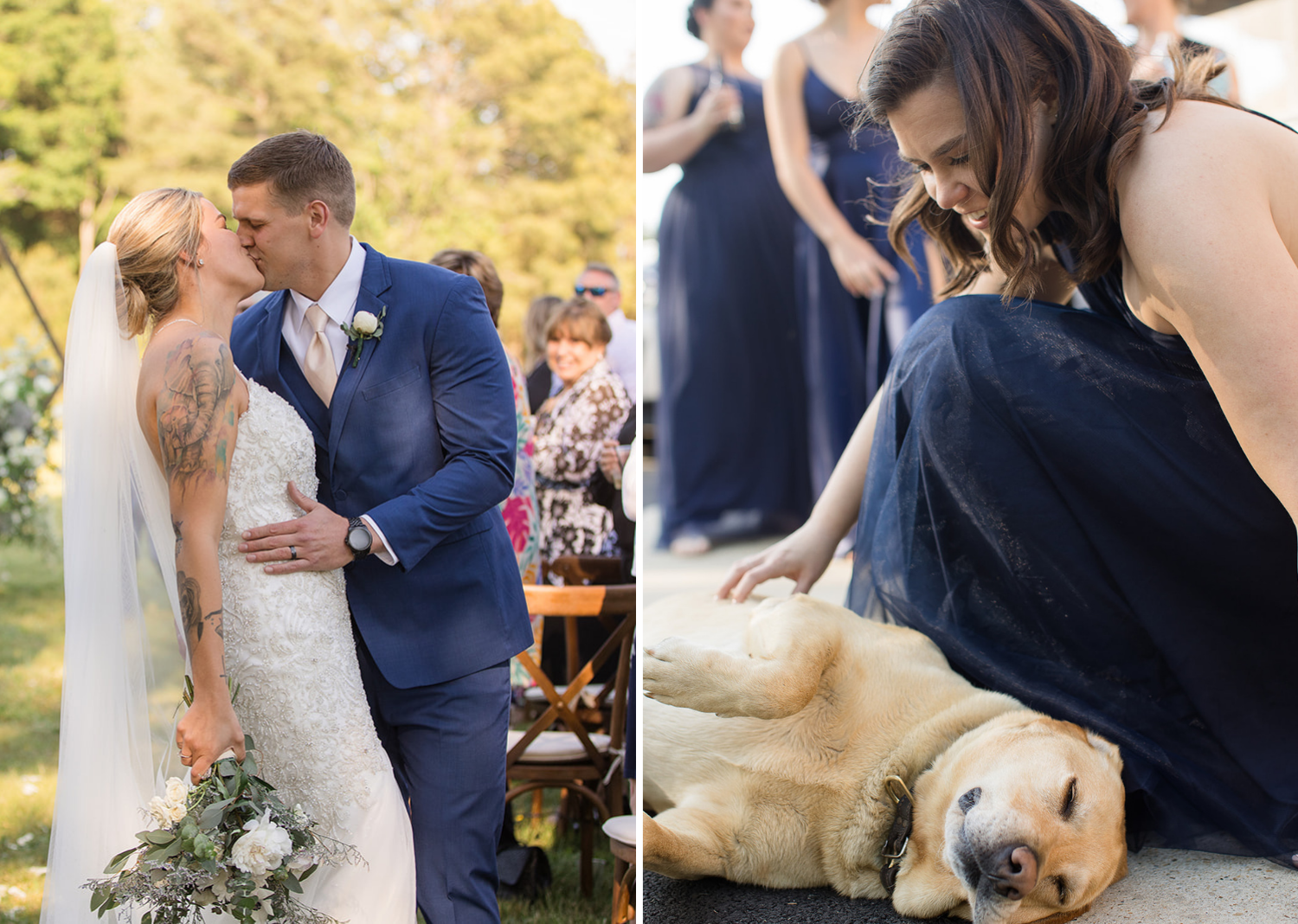 bride and groom share a kiss as they walk down the aisle, dog at the wedding lays down for belly rubs