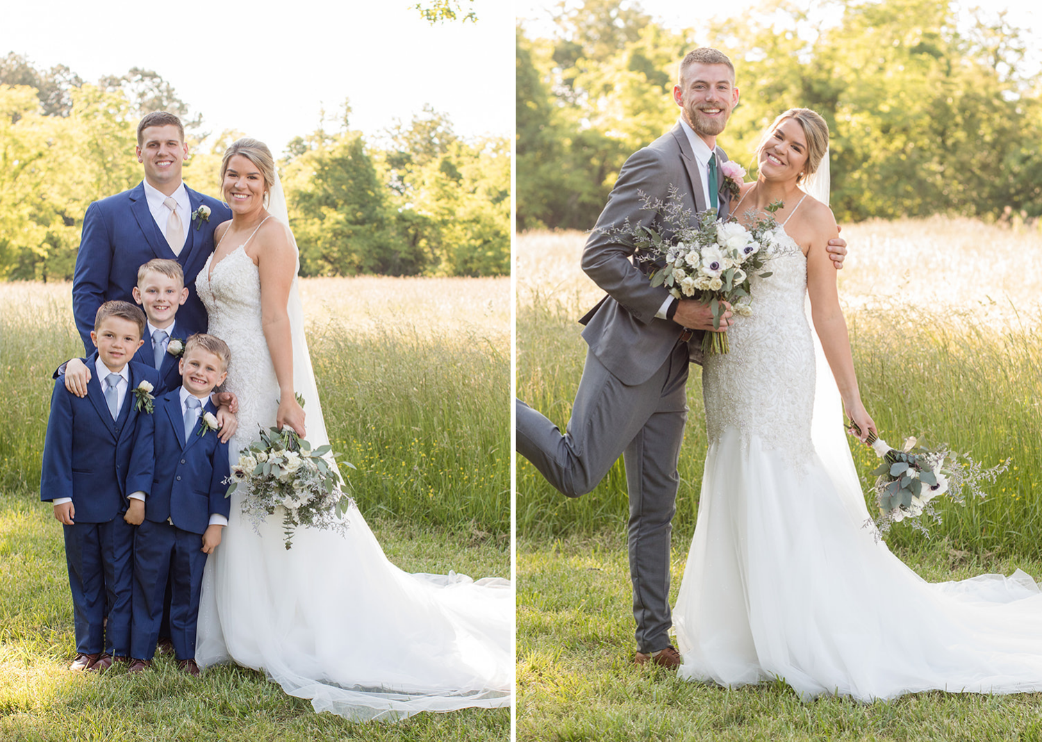 bride and groom with their kids and then the bride poses with their flower man