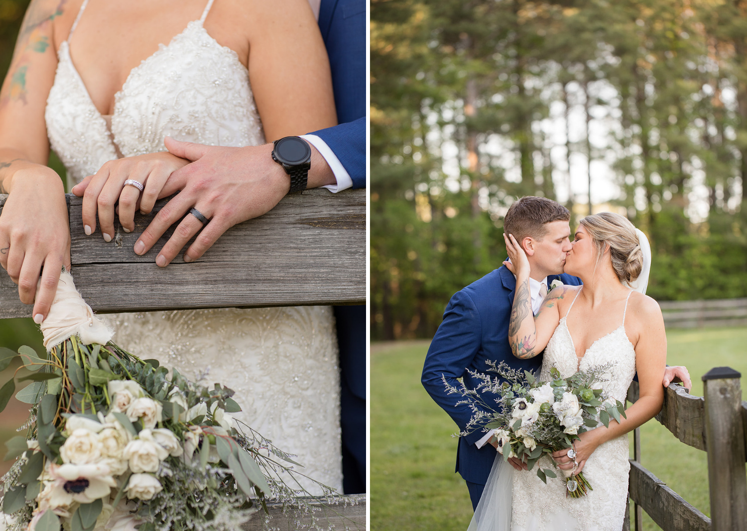 bride and groom outdoor portraits after wedding ceremony and close up of bride bouquets