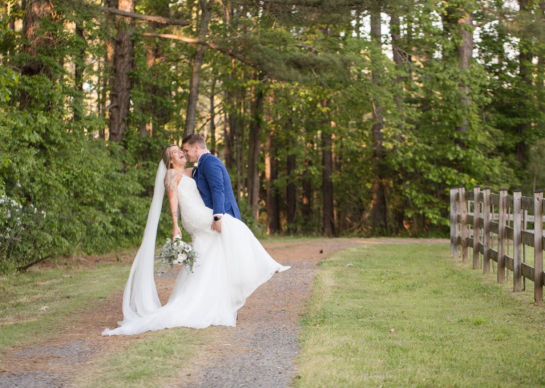 bride and groom outdoor portraits after wedding ceremony