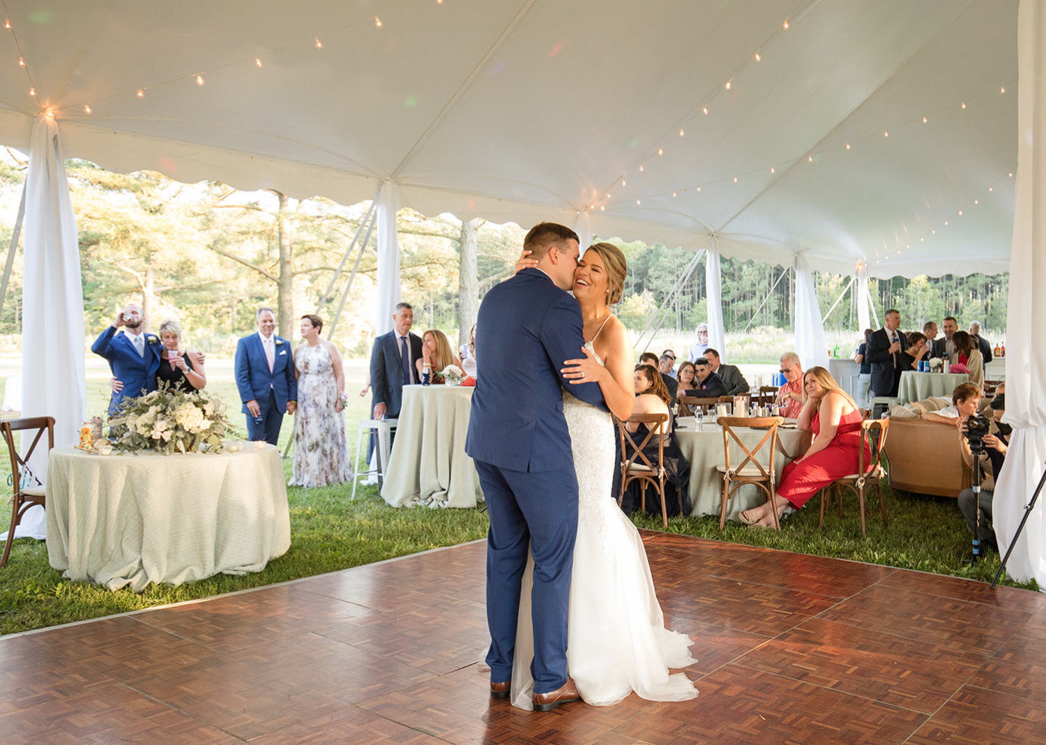 bride and groom dancing their first dance