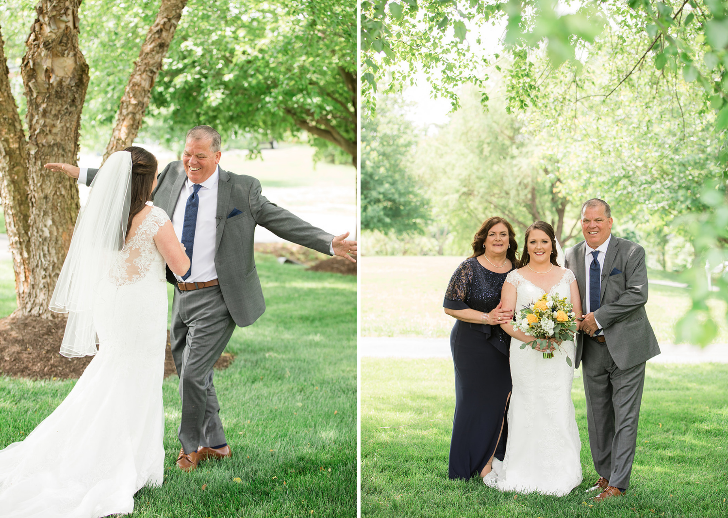 bride taking photos with her parents