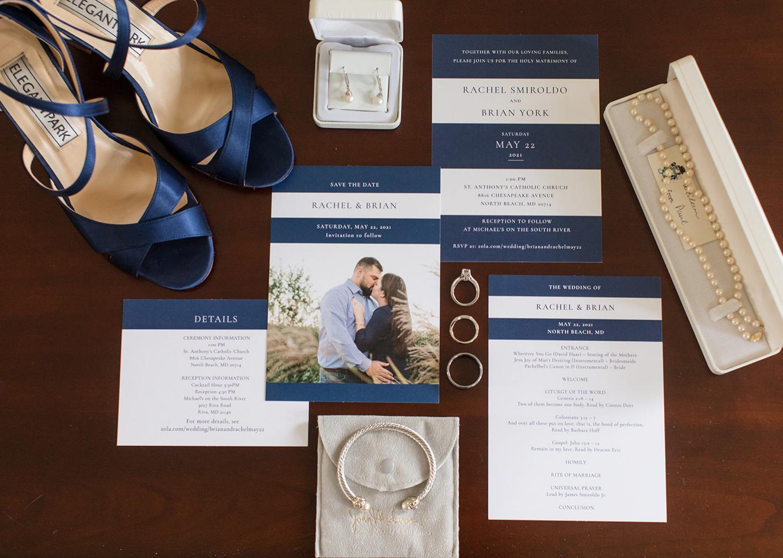 wedding flat lay photo with wedding stationery