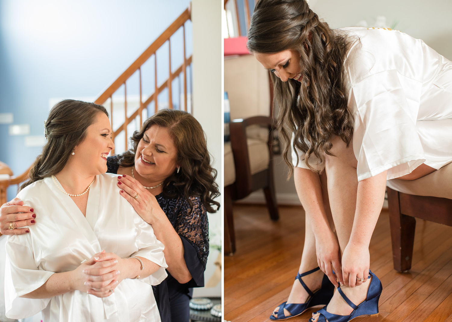 bride getting ready and putting her wedding shoes on.