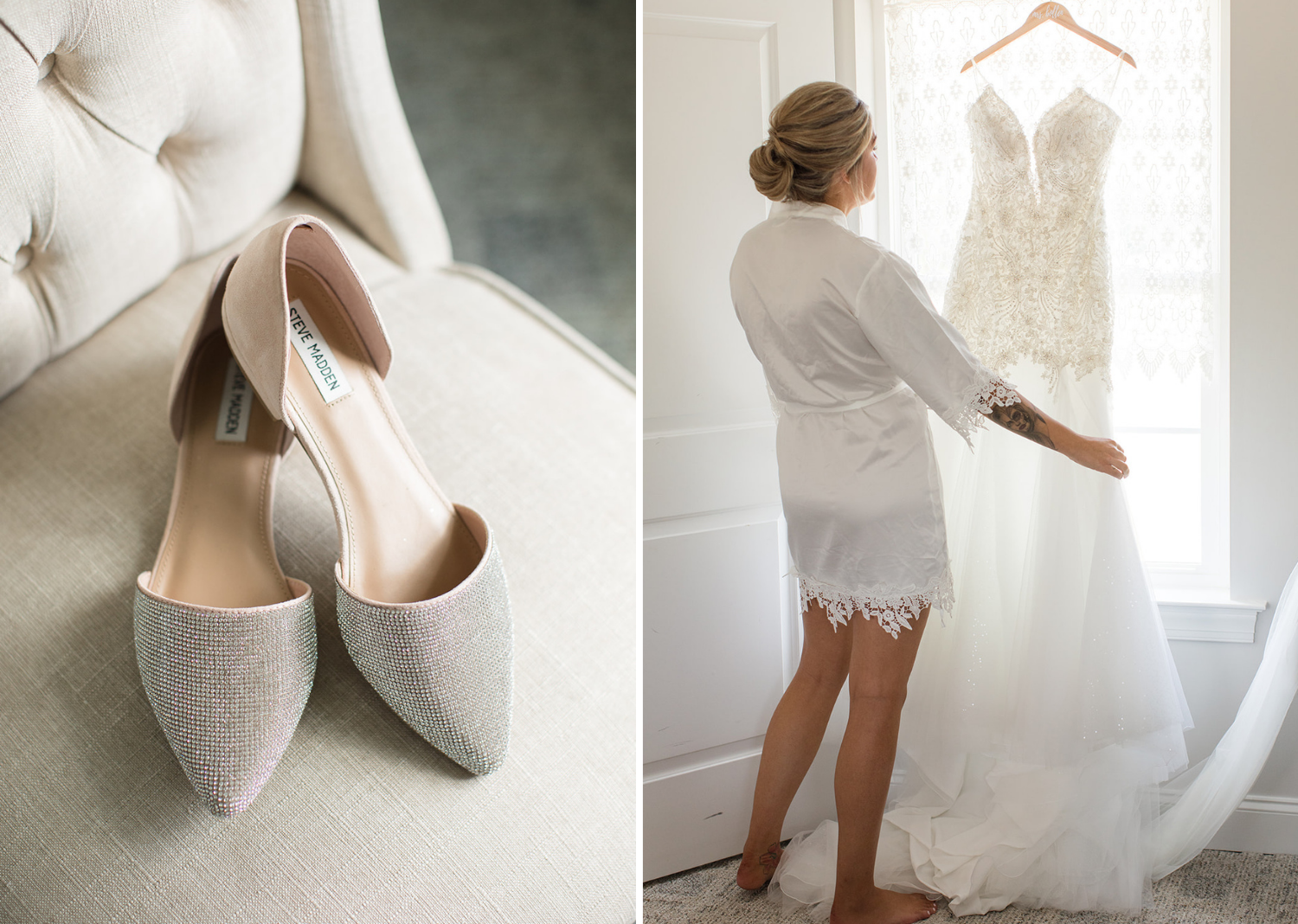 bridal shoes and wedding dress